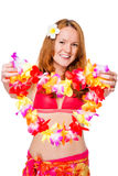 girl in a bikini holding out flower Royalty Free Stock Photo