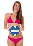 Girl in bikini holding volleyball Royalty Free Stock Images