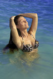 Girl in bikini at lanikai beach Stock Images
