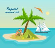 Girl in bikini, resting on tropical island, an exotic beach. Girl in bikini, resting on tropical sea, island with bay, palm trees, an exotic beach. Drinking Royalty Free Stock Photos