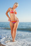 Girl in bikini at the sea Stock Photography