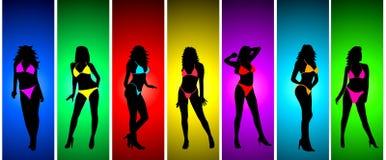 Girl in bikini silhouettes Stock Images