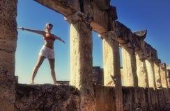 Girl in bikini. A girl stands in the ruins Stock Photos