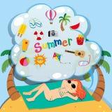 Girl in bikini sunbathing on the beach Royalty Free Stock Photo