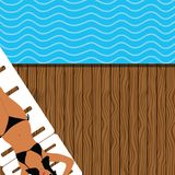 Girl in a bikini sunsets and rests by the sea. Illustration royalty free illustration