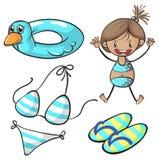 Girl in bikini and swimming set Royalty Free Stock Photos