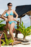 Girl in bikini in tropics Royalty Free Stock Photography
