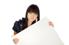 Girl with billboard Stock Photography