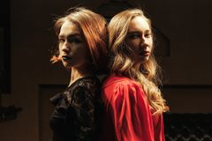 Girl in the billiard room. Two beautiful girls in the billiard room Stock Photography