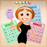 Girl with bingo cards Stock Photography