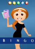 Girl with bingo cards Stock Photos
