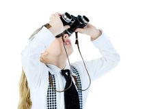 Girl with a binocular Stock Photo