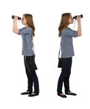 Girl with binocular Stock Photo