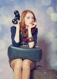 Girl with binocular Stock Photography