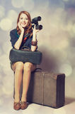 Girl with binocular Royalty Free Stock Image