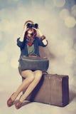 Girl with binocular Stock Image