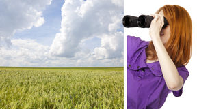 Girl with binoculars looking at wheat Stock Image