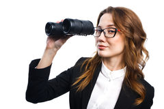 Girl with binoculars Stock Photos
