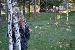 The girl and the birch Stock Image