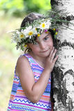 Girl at birch Stock Images