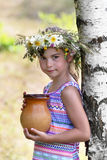 Girl at a birch Royalty Free Stock Images