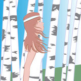 Girl between birches. Girl goes between the birches Royalty Free Stock Images