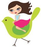 Girl on bird Stock Photo