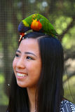 Girl with bird Royalty Free Stock Photography