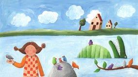 Girl, bird and crocodile. Acrylic illustration of girl, bird and crocodile Royalty Free Stock Photo