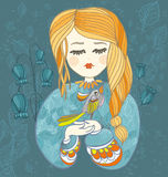Girl with bird. Decorative vector illustration for greeting card Stock Photos