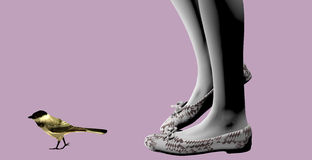 Girl with bird. Girl feet following a little bird over a purple background, 3D illustration, raster illustration Royalty Free Stock Image