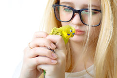 Girl and bird Stock Photography