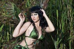 Girl bird in the Green swamp Royalty Free Stock Photo