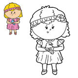 Girl and bird. Vector illustration coloring page of happy cartoon girl and bird for children, coloring and scrap book vector illustration