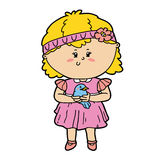Girl and bird. Vector illustration of cute cartoon girl and bird character for children and scrap book vector illustration