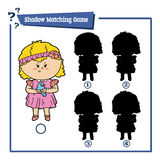 Girl and bird. Vector illustration of educational shadow matching game with cartoon girl and bird for children Stock Photo