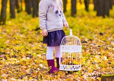 Girl with birdcage Royalty Free Stock Image