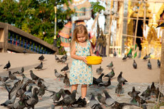 Girl and birds Royalty Free Stock Photography
