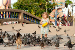 Girl and birds Stock Photography