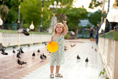 Girl and birds Stock Photo