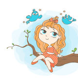 Girl and birds. Vector illustration. Girl sitting on a tree branch and birds flying around Royalty Free Stock Photo