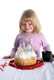 Girl with birthday cake Stock Photo