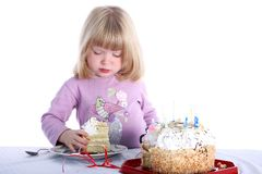 Girl with birthday cake Royalty Free Stock Photography