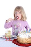 Girl with birthday cake Stock Image