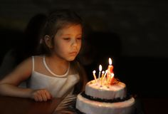 Girl with birthday cake Royalty Free Stock Photo