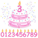 Pink birthday cake, confetti, ribbons and candles Royalty Free Stock Photos