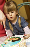 Girl with birthday cake Stock Images