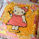 Girl birthday cake with kitty Stock Images