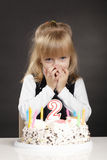 Girl with birthday cake make wish Royalty Free Stock Image
