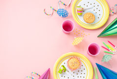Girl Birthday Decorations On Pink Table Stock Photography